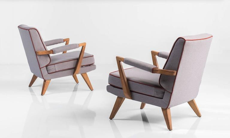 English Upholstered Modern Oak Armchairs, circa 1950 For Sale