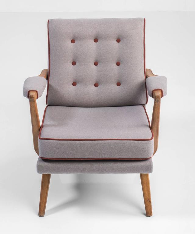 Upholstered Modern Oak Armchairs, circa 1950 In Good Condition For Sale In Culver City, CA
