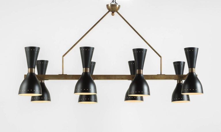 Black & Brass 8-Shade Chandelier, Italy, 21st Century  Rectangular form with brass hardware and eight black painted metal shades.