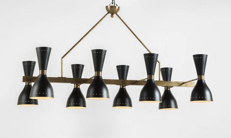 Modern Black & Brass 8-Shade Chandelier, Italy, 21st Century For Sale