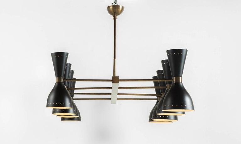 Italian Black & Brass 8-Shade Chandelier, Italy, 21st Century For Sale