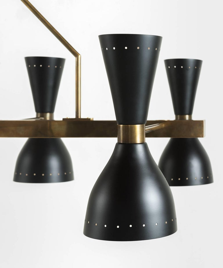Black & Brass 8-Shade Chandelier, Italy, 21st Century In Excellent Condition For Sale In Culver City, CA