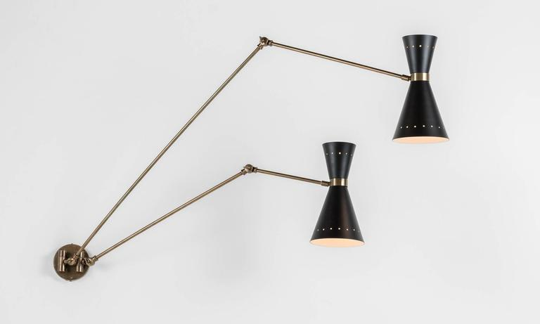 Black And Brass Double Wall Sconce Italy 21st Century For Sale At
