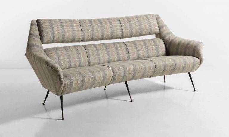 Modern Open Back Wool Sofa, Italy, circa 1960 For Sale