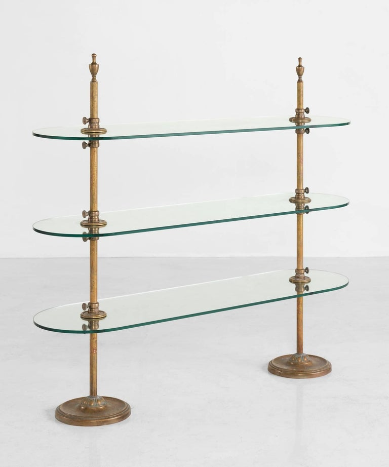 Brass and Glass Bistro Shelving Unit, circa 1910 at 1stdibs