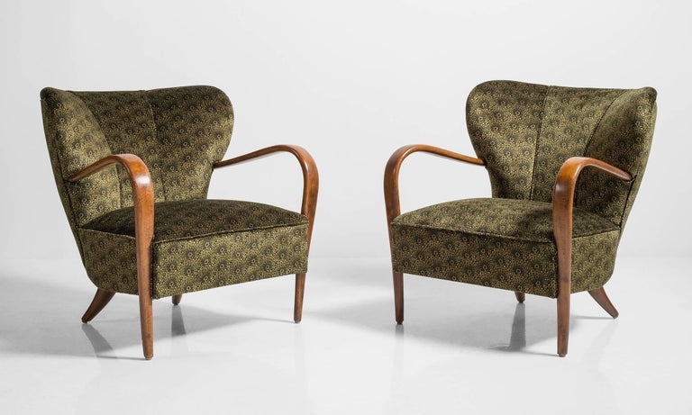 Pair of Deco Armchairs, Italy circa 1930.  Unique shellback form, with elegant bentwood arms. Newly reupholstered in Liberty of London Archival Velvet fabric.