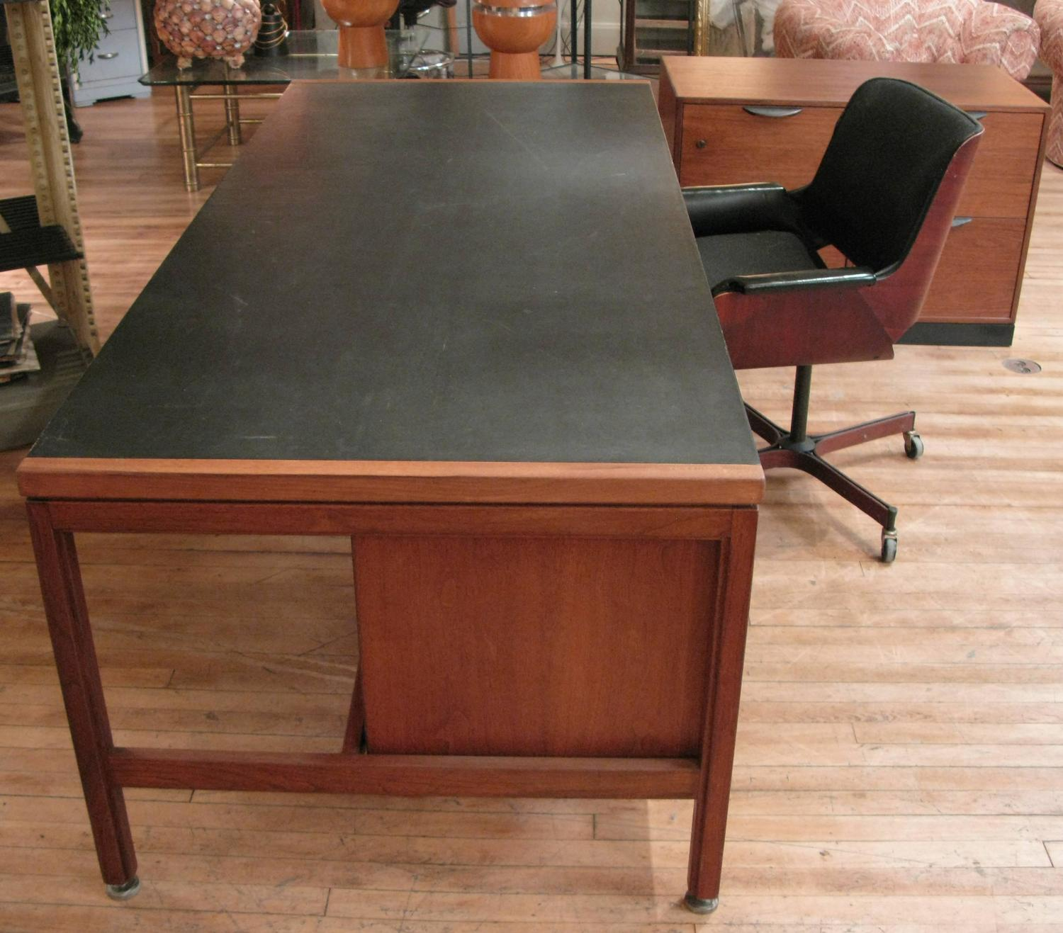 The Downing Street Executive Curio Desk: Vintage 1950s Large Walnut Executive Desk And File Cabinet