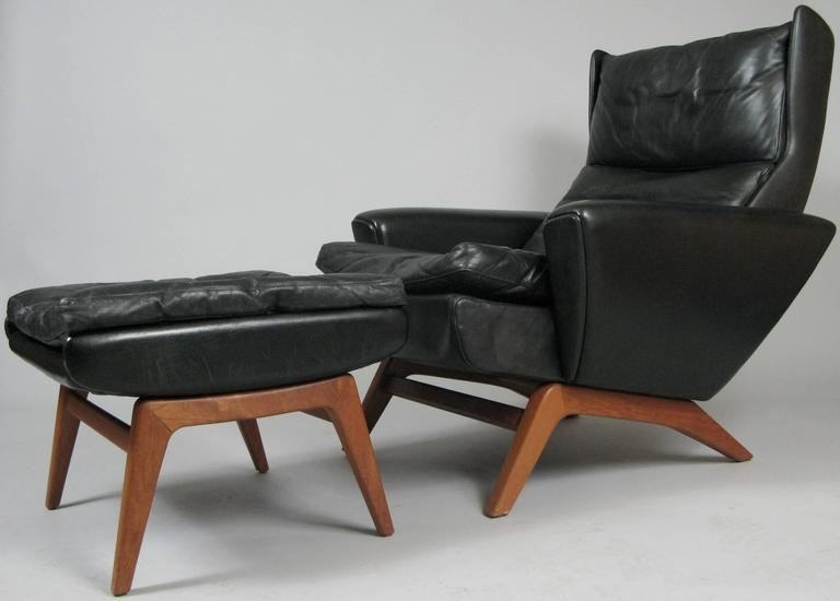 Scandinavian Modern Vintage Leather Lounge Chair And Ottoman By Georg Thams For
