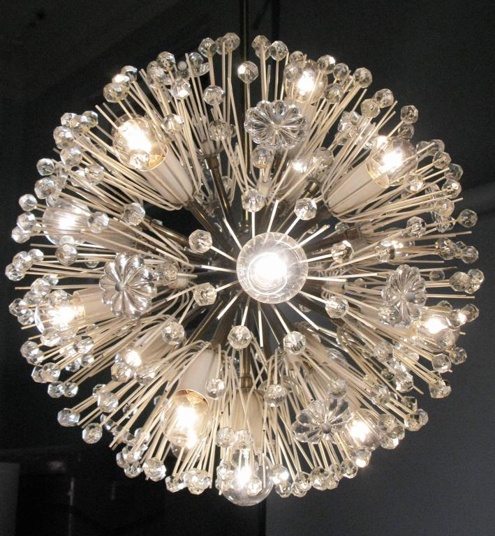 Mid-20th Century 1950s Austrian Brass and Glass Chandelier by Emil Stejnar For Sale