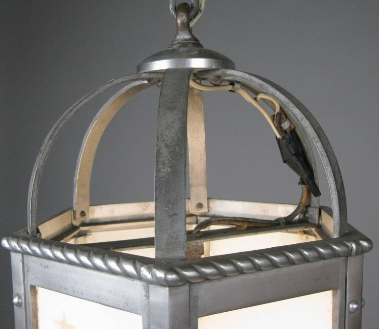 Nautical Shade For Vintage String Lights: Antique 1930s Aluminum And Glass Nautical Hanging Light At