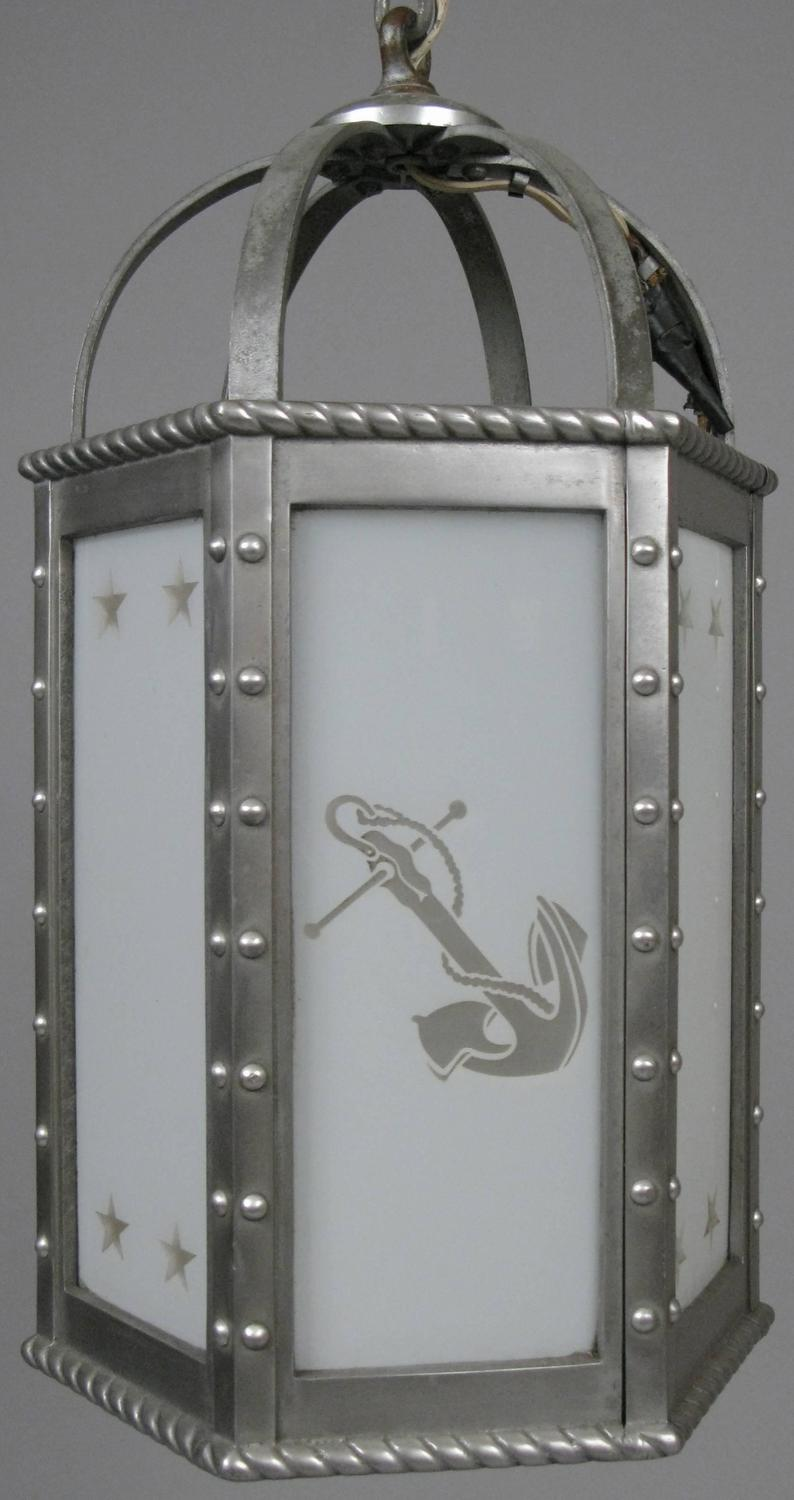 Antique 1930s Aluminum And Glass Nautical Hanging Light At