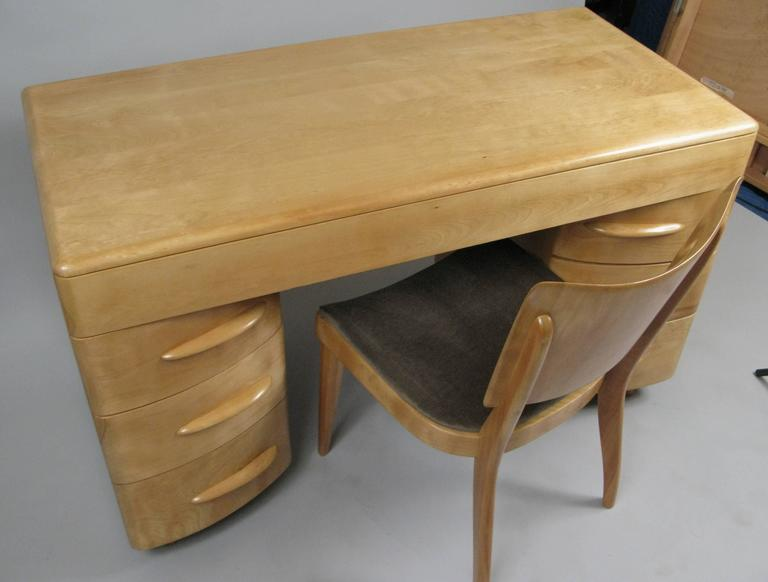 Vintage 1950s Birch Kneehole Desk And