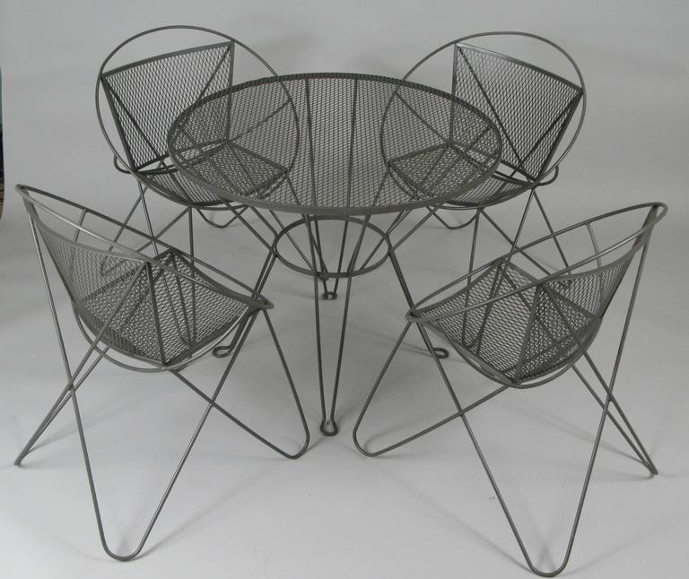 Wrought Iron Garden Table Part - 31: Vintage 1960s Wrought Iron Garden Table And Chairs By Woodard 2