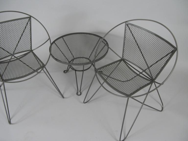 Vintage 1960s Wrought Iron Garden Table And Chairs By