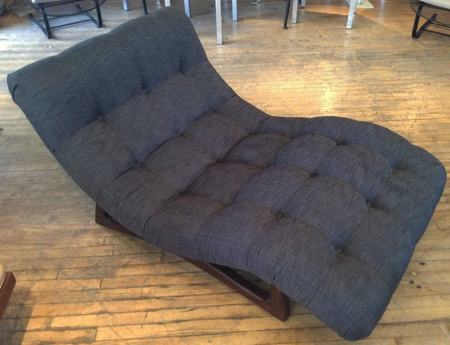 Vintage Adrian Pearsall Curved Chaise Lounge with Walnut Base at 1stdibs