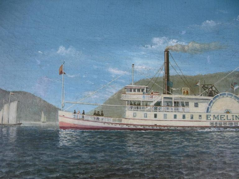 A very well done oil on canvas painting of a paddle steamer on the Hudson river done by noted artist Albert Nemethy. Albert was the scion of a family of painters from the Catskill Mountains. this is a very good example of Albert's paddle steamer