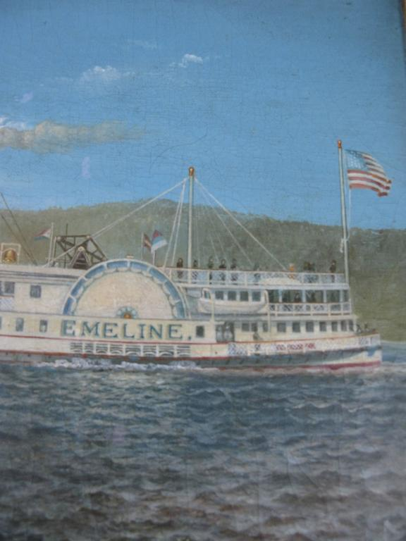 American Oil on Canvas Paddle Steamer Painting by Albert Nemethy For Sale