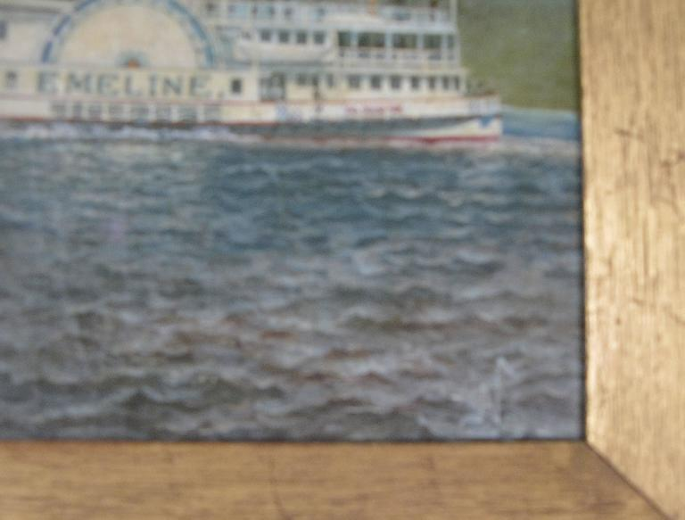Oil on Canvas Paddle Steamer Painting by Albert Nemethy In Excellent Condition For Sale In Hudson, NY