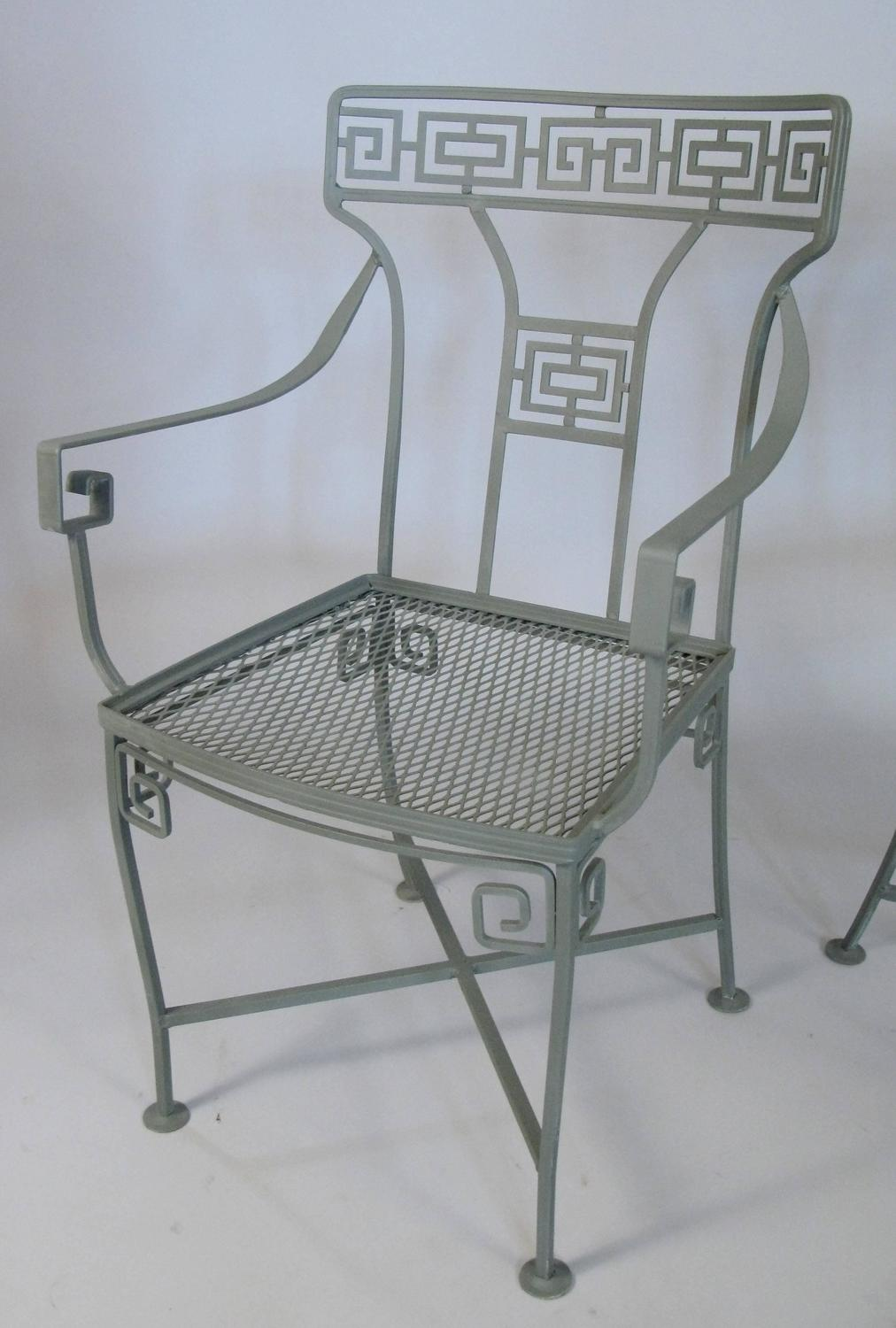vintage wrought iron greek key dining table and chairs at 1stdibs. Black Bedroom Furniture Sets. Home Design Ideas