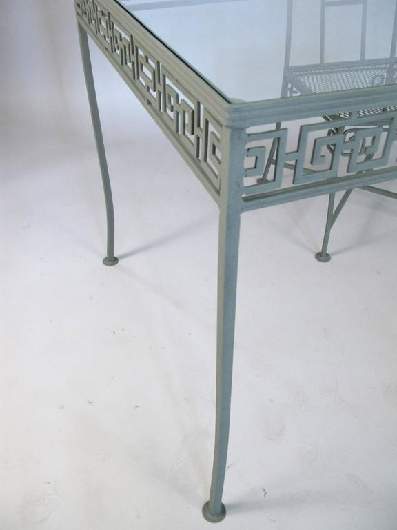Vintage Wrought Iron Greek Key Dining Table And Chairs At 1stdibs