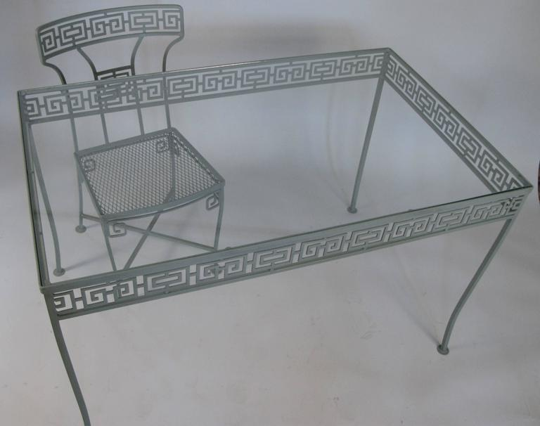Vintage Wrought Iron Greek Key Dining Table and Chairs at  : 4l from www.1stdibs.com size 768 x 606 jpeg 34kB