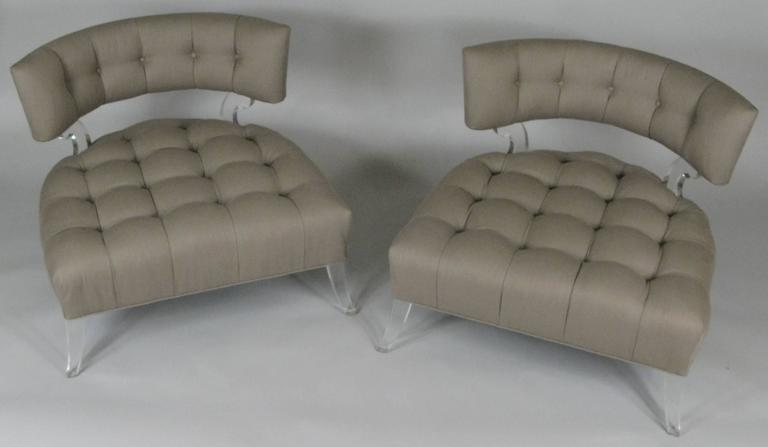 Pair of Rare 1940s Lucite Tufted Slipper Chairs by Grosfeld House In Excellent Condition In Hudson, NY