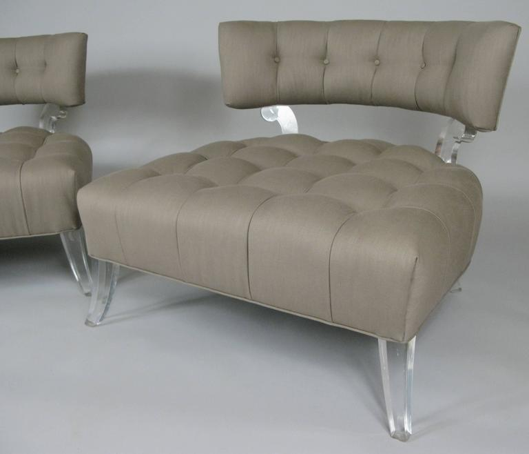 Pair of Rare 1940s Lucite Tufted Slipper Chairs by Grosfeld House 9