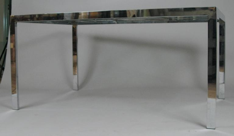 Vintage 1970s chrome and glass extension dining table for for Dining room tables 38 inches wide