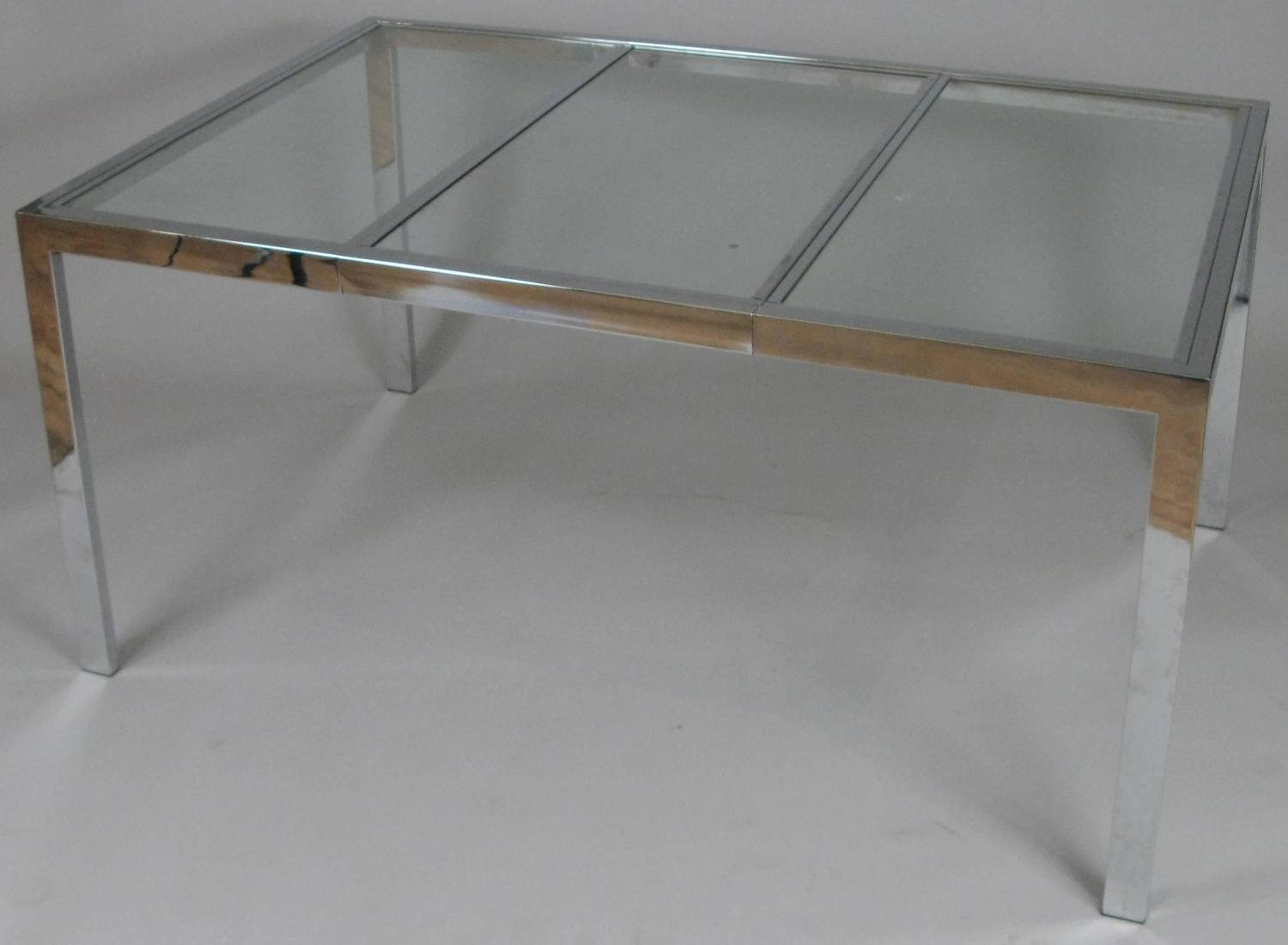 Vintage 1970s Chrome And Glass Extension Dining Table For