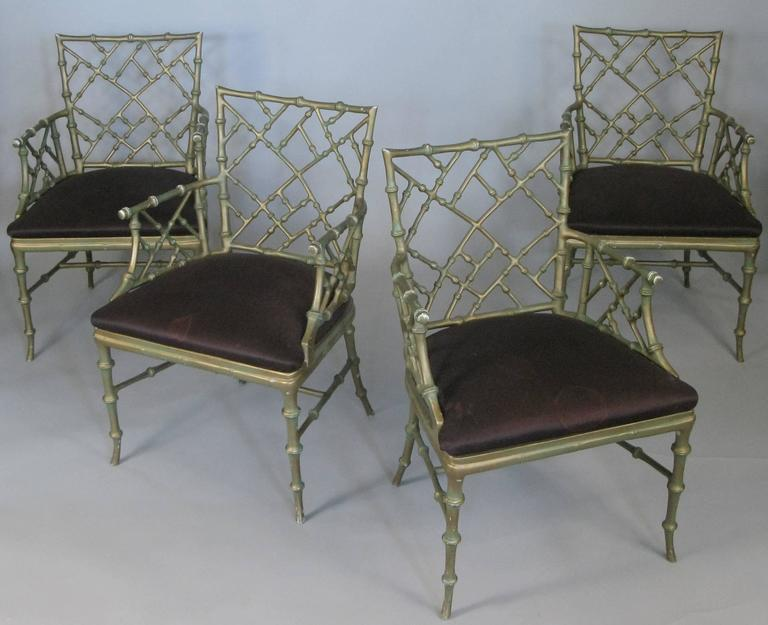 American Set of Four Vintage Metal Bamboo Armchairs by Phyllis Morris For Sale