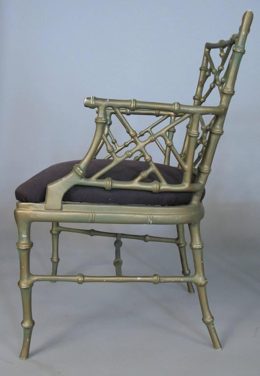 Set of Four Vintage Metal Bamboo Armchairs by Phyllis Morris In Good Condition For Sale In Hudson, NY