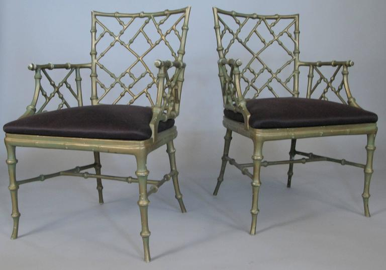 Mid-20th Century Set of Four Vintage Metal Bamboo Armchairs by Phyllis Morris For Sale