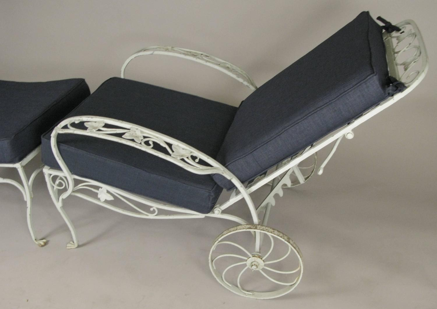 Pair of Vintage Wrought Iron Adjustable Lounge Chairs and ...