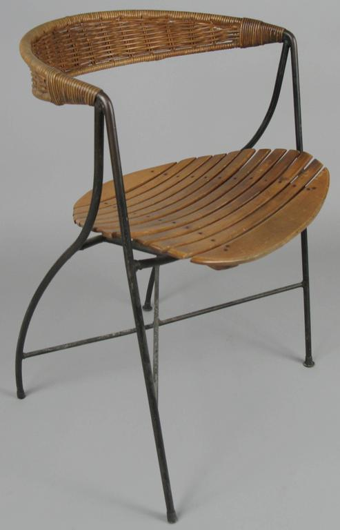 Rare 1950s Iron And Cane Chair By Arthur Umanoff At 1stdibs