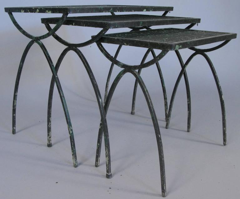 Set Of Vintage 1950s Wrought Iron Nesting Tables By