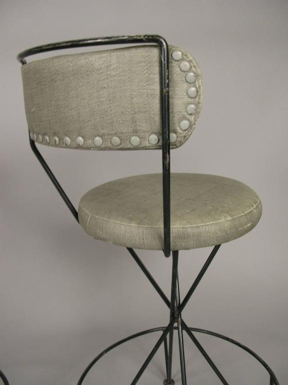 20th Century Set of Three Mid-Century Iron Barstools For Sale