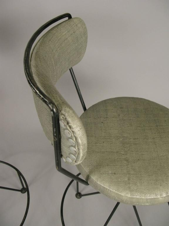 Set of Three Mid-Century Iron Barstools For Sale 2