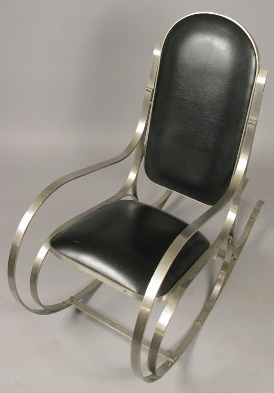 Vintage Italian Brushed Steel Rocking Chair At 1stdibs