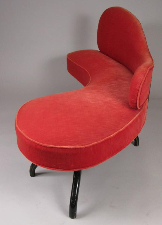 Mid-20th Century Sculptural 1940s Curved Settee For Sale