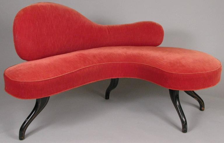American Sculptural 1940s Curved Settee For Sale