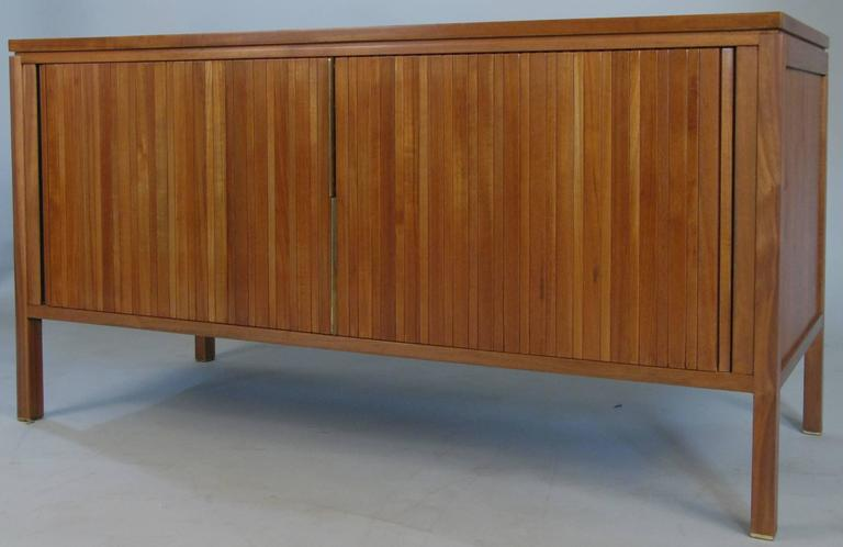 A Very Handsome Vintage 1950s Walnut Cabinet With A Tambour Door And  Adjustable Shelves. With
