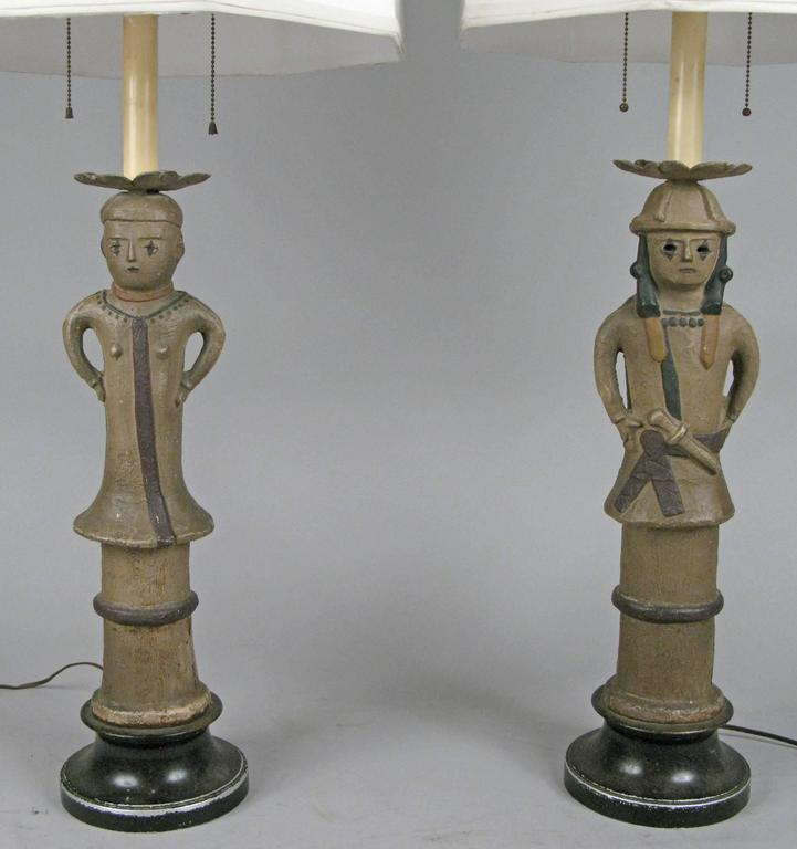 Pair of Antique Japanese Samurai Pottery Lamps In Good Condition For Sale In Hudson, NY
