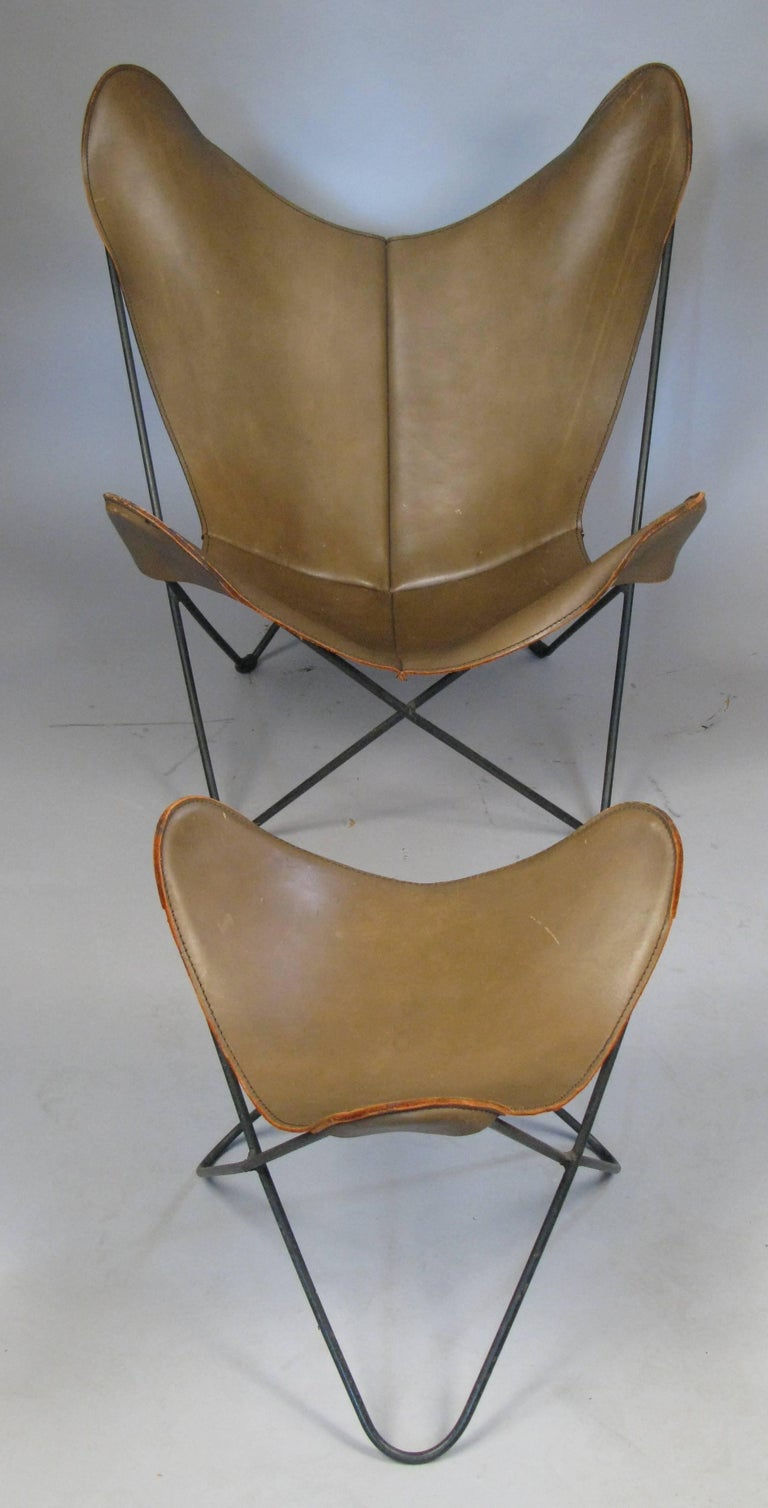 Leather Butterfly Lounge Chair And Ottoman By Hardoy For