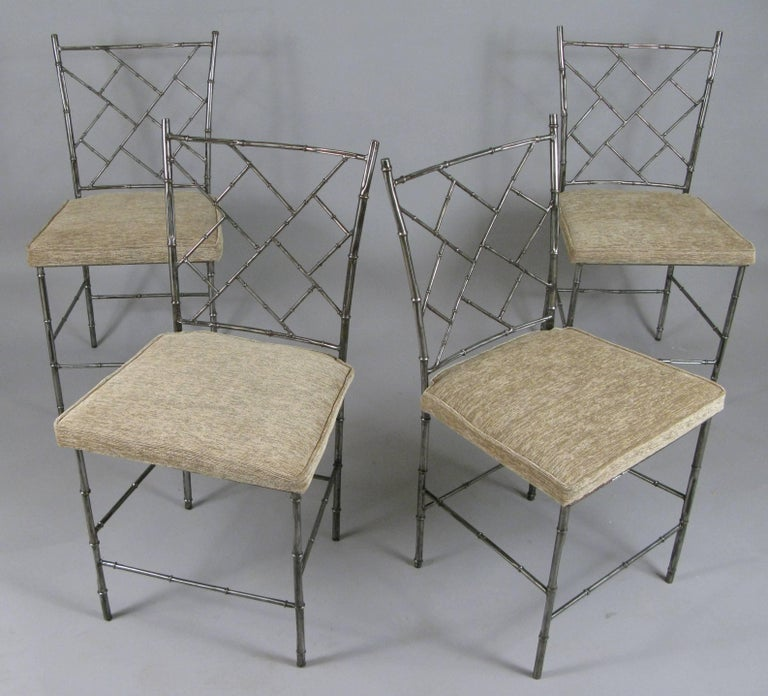 Set of Four Steel Chippendale Style \'Bamboo\' Dining Chairs For Sale ...