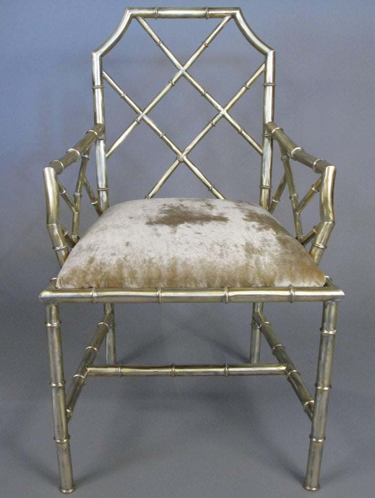 Set Of Six Steel Bamboo Chippendale Style Dining Chairs At 1stdibs