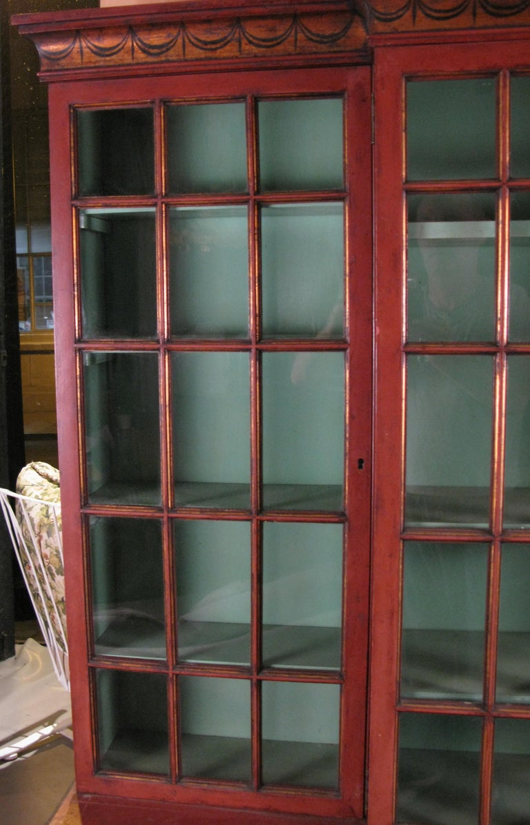 American Antique Chinoiserie Pompeii Red Glass Door Bookcase For Sale - Antique Chinoiserie Pompeii Red Glass Door Bookcase At 1stdibs