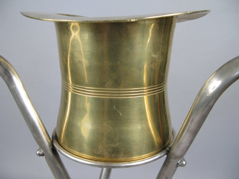 Late 20th Century 1970s Silver Top Hat and Cane Champagne Bucket on Stand For Sale