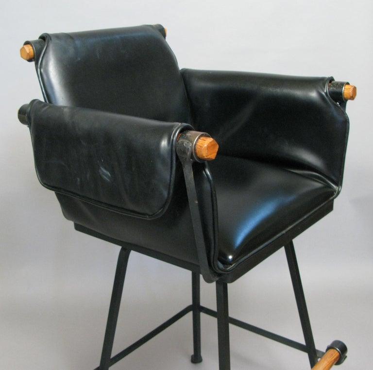 American Set of Three Swivel Barstools by Cleo Baldon For Sale