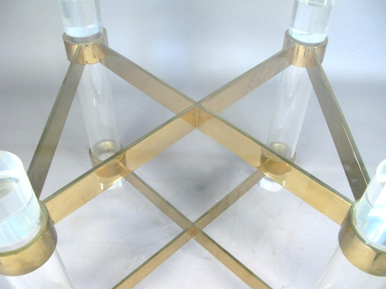 American 1970s Lucite and brass dining table by Charles Hollis Jones. For Sale