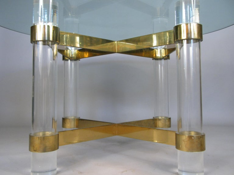 1970s Lucite and brass dining table by Charles Hollis Jones. In Good Condition For Sale In Hudson, NY